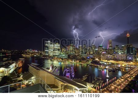 SYDNEY AUSTRALIA - December 8 2016 : Thunderstom of Darling Harbour adjacent to the city center of Sydney and also a recreational place in Sydney central business district