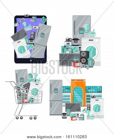 Set of banners with household appliances. Kitchen devices in suitcase, in cart, supermarket isolated on white. Big sale concept. Set of electronics. Black friday. Vector illustration in flat style