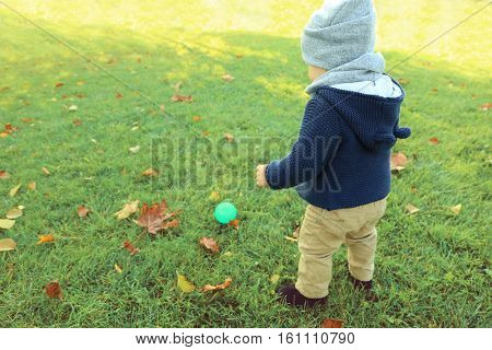 Cute little baby playing with rubber ball in green park