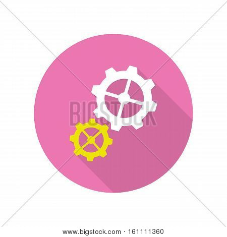 Gear icons web button isolated on white. Strategic management concept. Cogwheel and development symbol. Integral parts for constant business work. Machinery progress sign. Vector design illustration