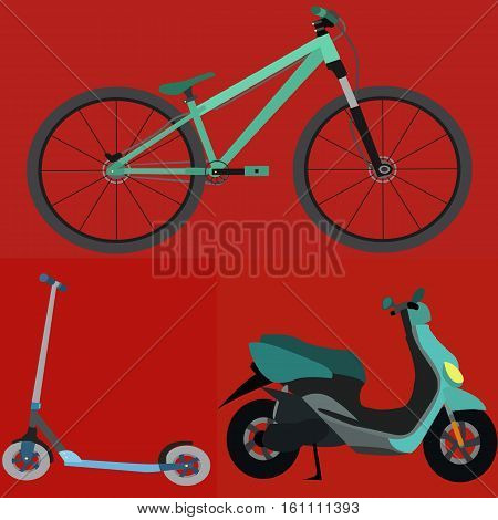 Set of Simple Vector Transportation Bicycle , Scooter , Motobike. Vector illustration