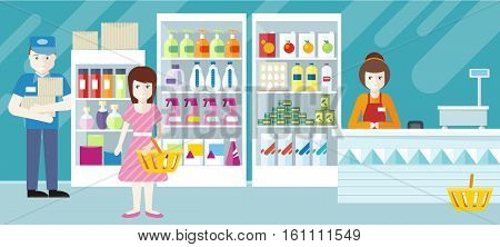 People in supermarket interior design. Security, shop assistant and consumer. Girl makes shopping in retail store. Seller put goods on shelves. Cashier sitting at the cash desk. Vector illustration