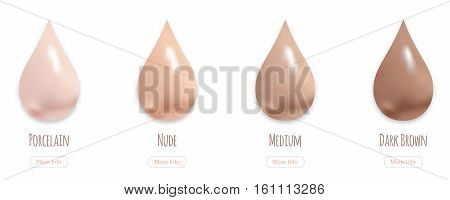 Realistic makeup cream drops in different shades, vector illustration. BB cream swatches concept, more info button.