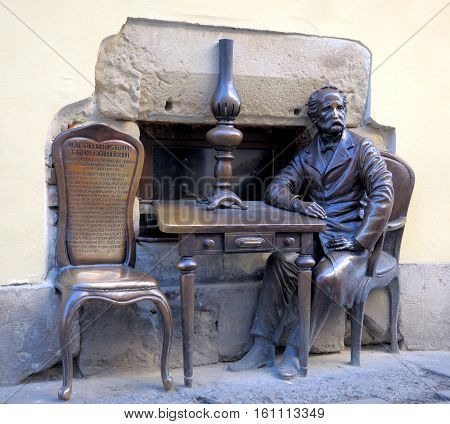 Lviv, Ukraine -  February 05: Armenian Street, Open Monument Devoted Of Inventors Kerosene Lamps Jan