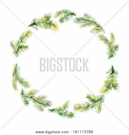 Watercolor Christmas tree branches in Xmas wreath. Hand painted texture with fir-needle natural elements isolated on white background.