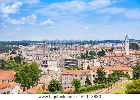 Clouse up view of Historic Center of Pula City from the Venetian Fortress (Pula Castle) in Croatia