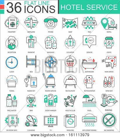 Vector Hotel service flat line outline icons for apps and web design. Hotel service icon