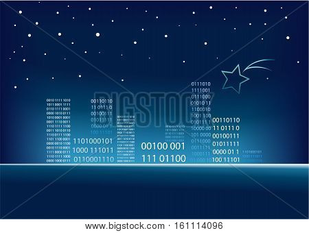 Holiday background with abstract code city - vector illustration