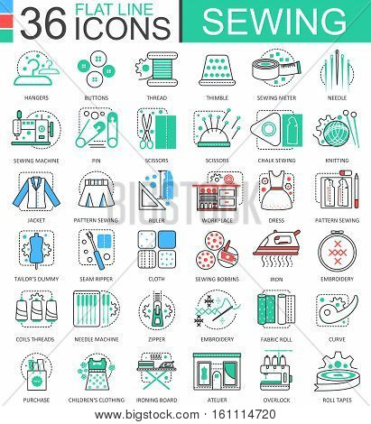 Vector Sewing flat line outline icons for apps and web design. Sewing icon