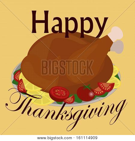 Roasted turkey. Festive table in honor of Thanksgiving day. Simple text. Vector illustration. Holiday banner.