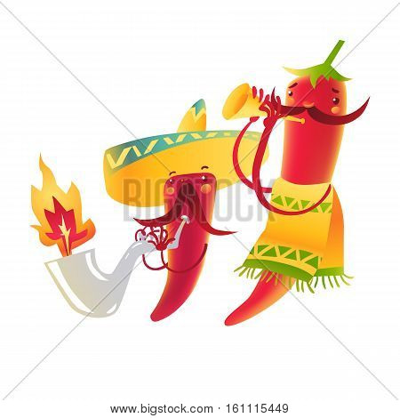 Happy chili peppers character in sombrero playing Mexican maracas, cartoon vector illustration isolated on white background. Chili peppers character in traditional Mexican sombrero playing music