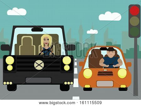 Situations on the road. Pretty slim girl in a jeep and a fat woman in a small car standing at a traffic light.Problem of excess weight. The problem of social inequality.