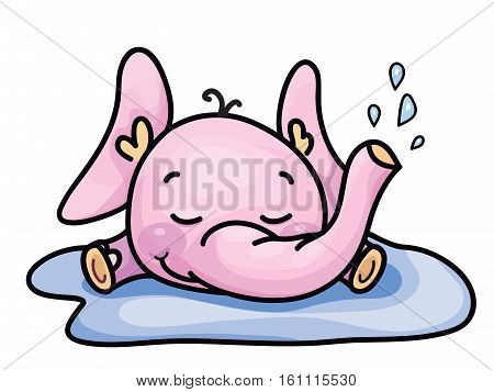 Vector cute baby elephant in puddle isolated.