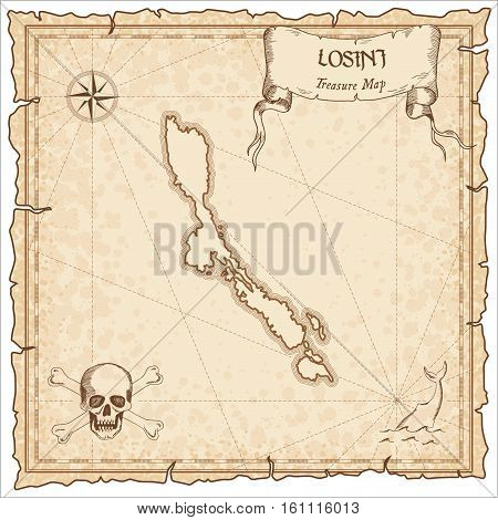 Losinj Old Pirate Map. Sepia Engraved Parchment Template Of Treasure Island. Stylized Manuscript On