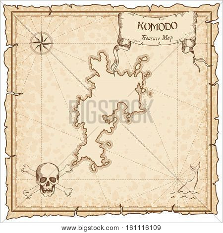 Komodo Old Pirate Map. Sepia Engraved Parchment Template Of Treasure Island. Stylized Manuscript On