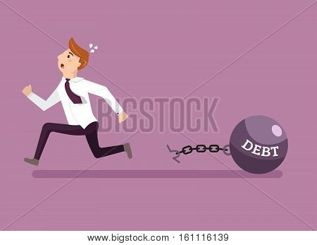 Businessman escapes from giant metal weight with a title Debt. Employee running away