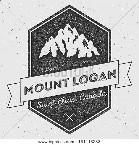Mount Logan In Saint Elias, Canada Outdoor Adventure Logo. Pennant Expedition Vector Insignia. Climb