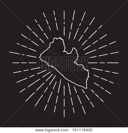 Liberia Vector Map Outline With Vintage Sunburst Border. Hand Drawn Map With Hipster Decoration Elem