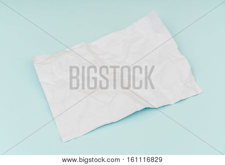 Wrinkled paper  flyer poster, brochure mockup,A4, US-Letter, on blue background