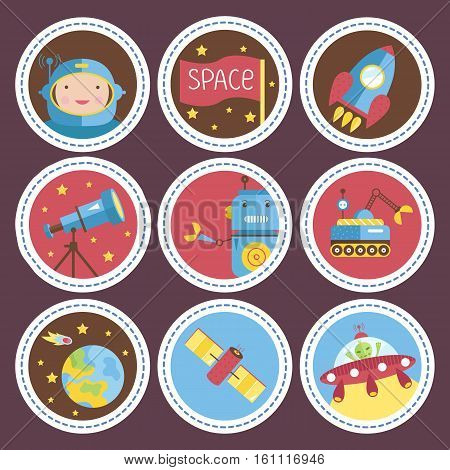 Space objects cartoon icons. Astronaut, rocket, telescope, robot, exploration rover, planet Earth, satellite, flying saucer vectors set isolated on violet background. For app button, logo, web design