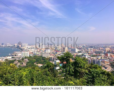 Landscape of pattaya city viewpoint ,Pattaya city viewpoint on the afternoon sun light,