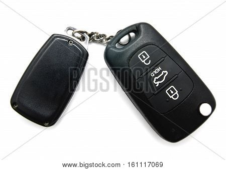 Car key and alarm system charm isolated on a white background