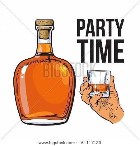 rum alcohol bottle and hand holding full shot glass, sketch style vector illustration isolated on white background. Realistic hand drawing of an unlabeled, unopened rum bottle, party time concept