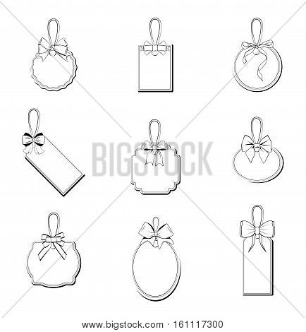 White price tags with knotted ropes, blank gift labels, sale labels, gift cards set. Trendy graphic design elements. Vector illustration isolated on white