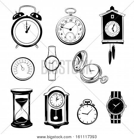 clock and watch collection black and white. isolated design elements set. vector illustration
