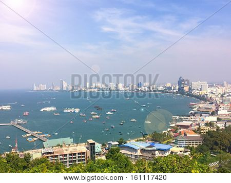 Pattaya city viewpoint on the afternoon sun light, Landscape of pattaya city view