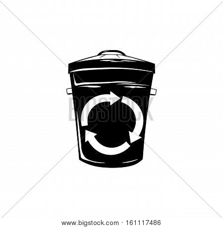 waste container with recycle symbol, black and white. vector illustration isolated