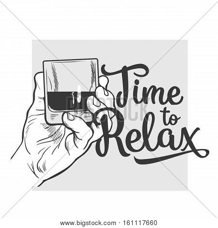 Hand holding glass of whiskey, sketch style vector poster, banner, invitation template. Hand drawing of male hand with a shot of rum, whiskey, cognac, time to relax concept for poster, postcards