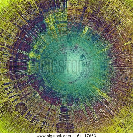 Spherical background with grunge elements on vintage style old texture. With different color patterns: yellow (beige); brown; green; blue; purple (violet); cyan