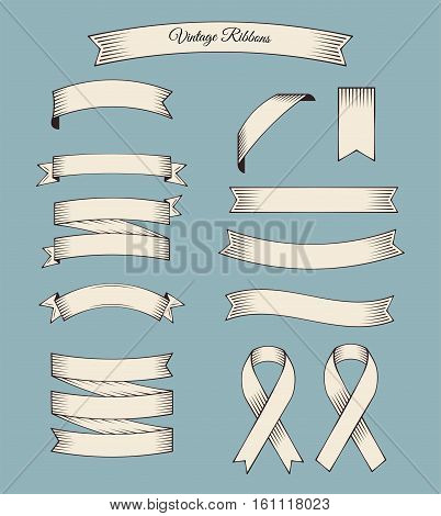 Ribbons Vintage Set. Retro banner colletion. Design Elements Objects. White Vector Illustration Isolated on Blue