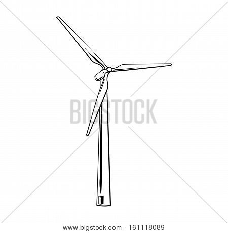 Wind turbine isolated on white background. Green energy, Vector Illustration