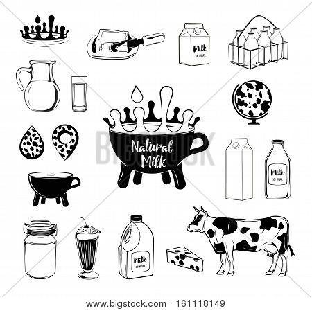 Milk and creamery labels, emblems and design elements set. crown, jug, drop a crate of bottles, cow, Cup. Vector Illustration