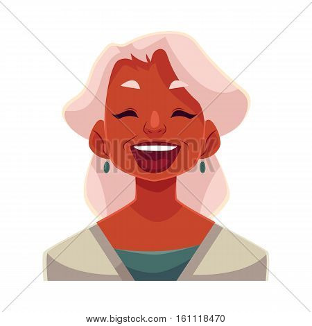 Grey haired old african lady, laughing facial expression, cartoon vector illustrations isolated on white background. Old black woman laughing out load with closed eyes and open mouth. Laughing