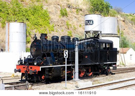 steam locomotive at railway station of Tua, Douro Valley, Portugal poster