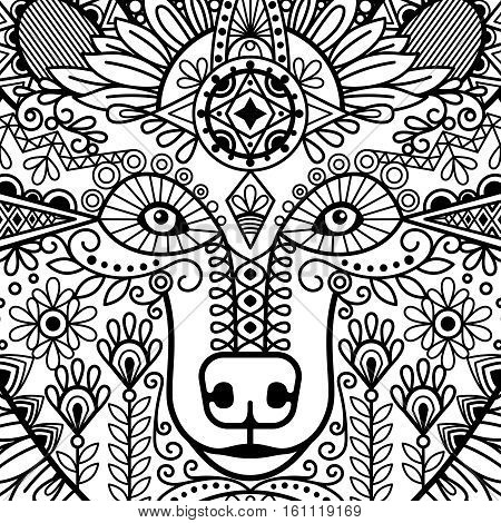 Ethnic style bear head with black and white floral ornament. Vector illustration