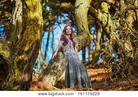 Beautiful Young Romantic Girl Sitting In Presidio Park In San Francisco