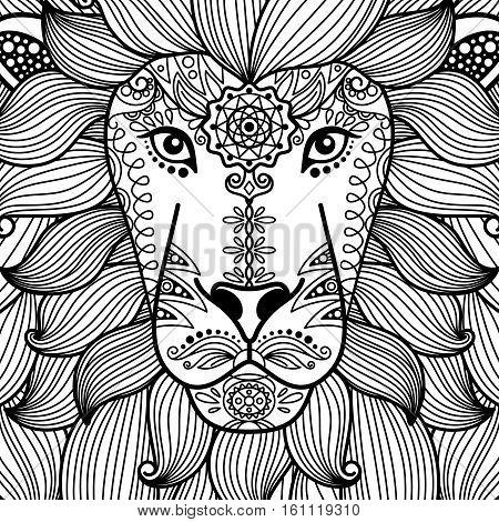 Tribal ornamental black and white lion head. Vector illustratoin