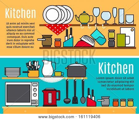 Horizontal kitchen banners templates with text. Vector illustration