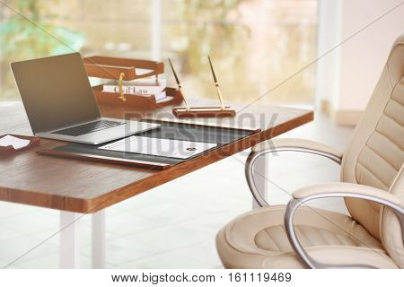 Notary  workplace with laptop