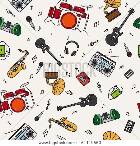 Music instrument colorful pattern with white background. Vector illustration