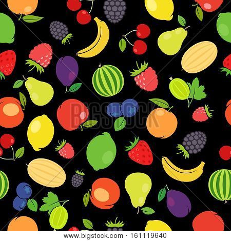 Fruits colorful seamless pattern with black background. Vector illustration