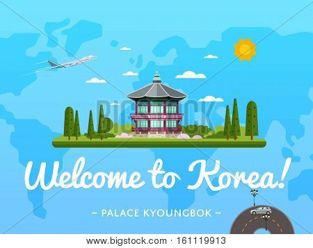 Welcome to Korea poster with famous attraction vector illustration. Travel design with ancient emperor Kyoungbok palace at Seoul. Famous architectural landmarks and worldwide air traveling concept