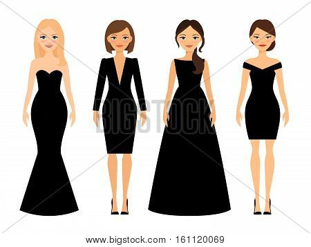 Beautiful women in different style black dresses cartoon characters on white background. Vector illustration