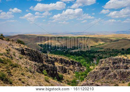 Endless golden color kazakh grassland landscape, central asia