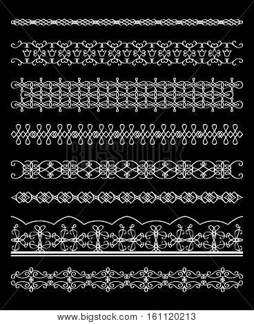 White line borders collection on black background. Vector illustration