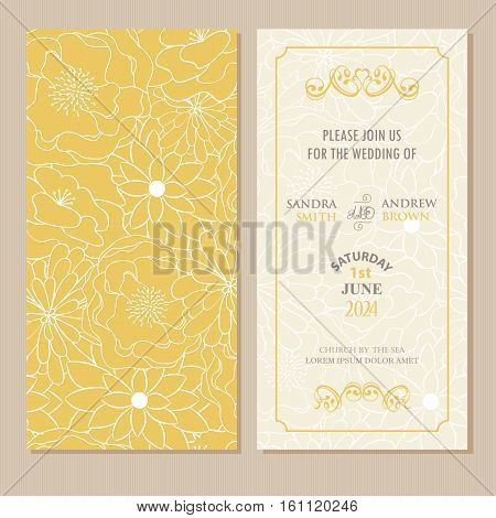 Wedding invitation and save the date card. Also can be used as greeting card birthday card or party invitation